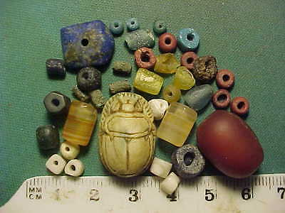 30+ Ancient beads circa 1000 BC- 700 AD + An Egyptian scarab amulet