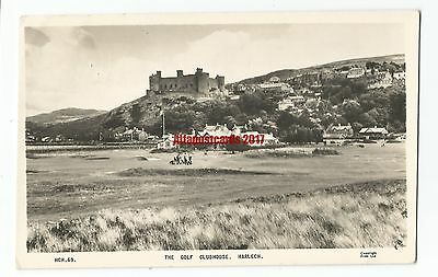 Wales Harlech Golf Clubhouse Real Photo Vintage Postcard