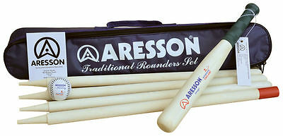 Aresson Traditional Rounders Set Outdoor Family Garden Games Bat Ball Posts