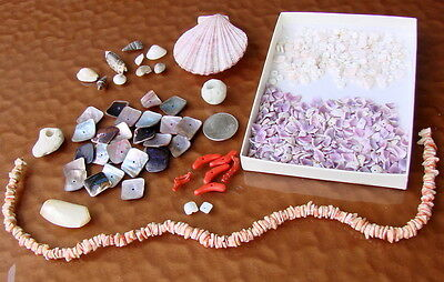 Vintage Stone Shell Coral Mother of Pearl Bead Seashell Lot