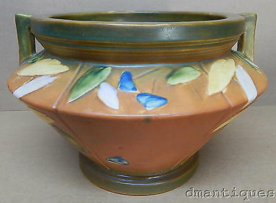 1928 Roseville Futura Jardiniere Planter Art Deco Pottery Colored Flowers