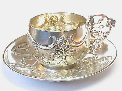 QUALITY Antique French solid silver Art Nouveau cup & saucer no1