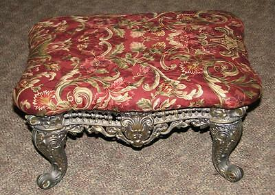 antique Cast Iron ORNATE VICTORIAN FOOT STOOL  recovered burgandy floral