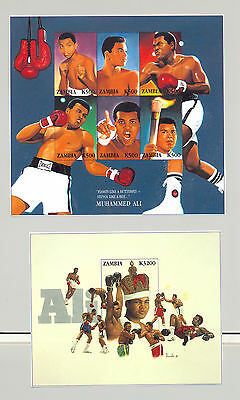 Zambia 1998 Muhammad Ali, Boxing 1v.m/s of 6 + 1v. s/s unissued chromalin essays