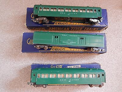 Vintage American Flyer  S Gauge 3 x New haven Green Coaches  - Boxed