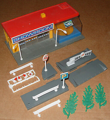 Vintage 1980s Tomy Toy Car Showroom and Accessories