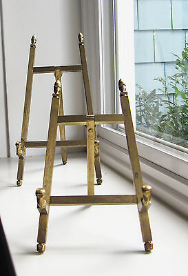 Solid Brass Vintage Picture Plate Book Holders Easel Stand Tripod
