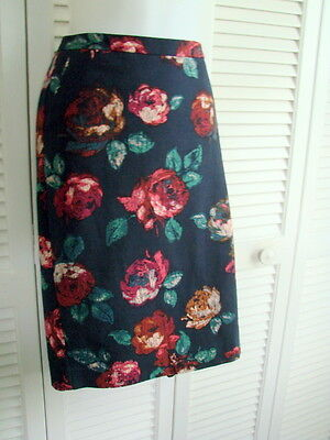 Merona Stretch Pencil Skirt  Navy Floral Sz 16-18  Knee Length