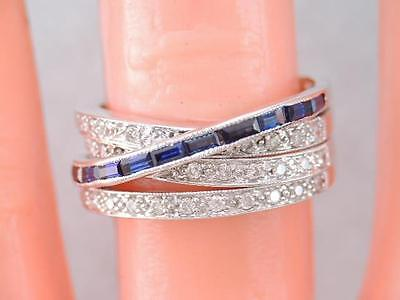 Gorgeous Wide 14K White Gold Diamond & Blue Sapphire 4 Stacking Band Ring Sz 6.5