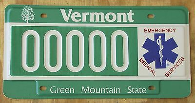 VERMONT SAMPLE EMT - Fire / Medical  license plate  1995  00000