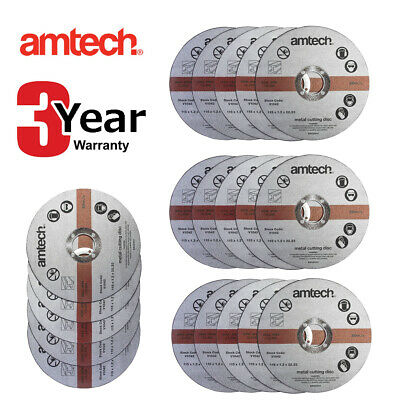 20 X Am-Tech 1.2Mm X 115Mm Thin Metal Angle Grinder Cutting Discs 3 Yr Warranty