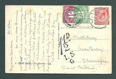 1924 postcard - GB stamp used in EGYPT to Wales with 1.5d POSTAGE DUE