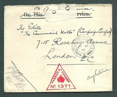 1915 Censor cover - WORLD WAR 1 Base Army PO 4 to London