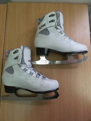 Childrens ALPINE White Ice Skates Size 33 / UK13