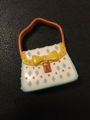 Barbie My Scene Doll Accessories White & Pale Blue Hand Bag With Yellow Bow