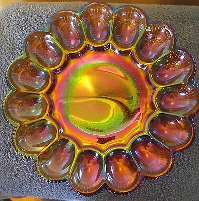 "Indiana Glass beautiful cranival glass  devil egg tray platter 11"" hobnail"
