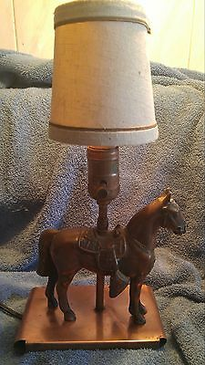 Mid century copper horse lamp working cowboy cowgirl western