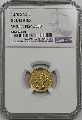 1878-S Liberty Head Gold Quarter Eagle $2.5 XF Details NGC