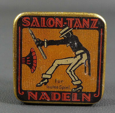 Art Deco Black Americana Salon Tanz German Gramophone Phonograph Needles Tin Box