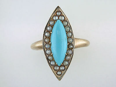 Vintage Antique Turquoise & Pearl 14K Yellow Gold Victorian Cocktail Ring