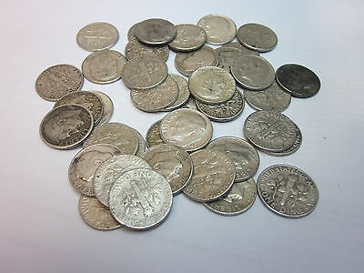 50 Circulated, Unsearched 1946-1964 Roosevelt Dimes - 90% SILVER