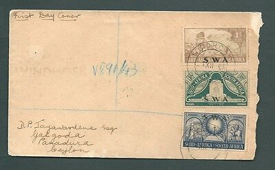 1950 Registered FDC - Multi-Franking - Winhoek, SOUTH WEST AFRICA to Ceylon