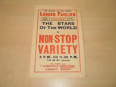 May 1933 London Pavilion Theatre Four Page Handbill/Advert Variety Theatre