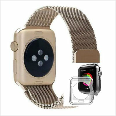 Bronze Milanese Stainless Metal Band Strap For Apple Watch 38mm Clear Case
