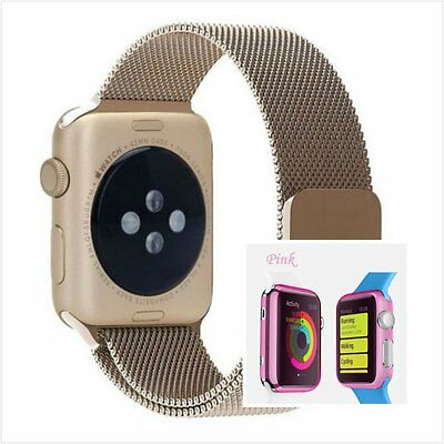 Bronze Milanese Metal Band Strap For Apple Watch 42mm Clear Pink Case