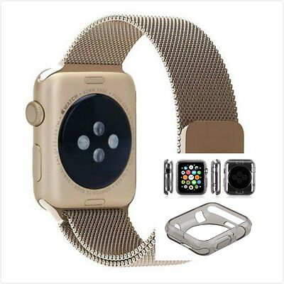 Bronze Milanese Metal Band Strap For Apple Watch 38mm Clear Black Case
