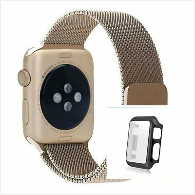 Bronze Milanese Metal Band Strap For Apple Watch 38mm Full Protect Black Case