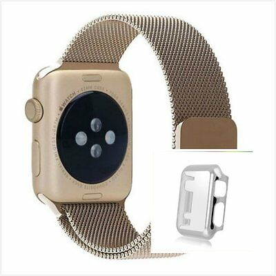 Bronze Milanese Metal Band Strap For Apple Watch 42mm Protect Silver Case