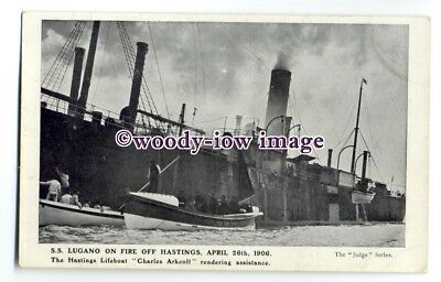 cb0967 - Hamburg Amerika Cargo Ship - Lugano on Fire off Hastings 1906 -postcard