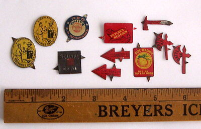 TOBACCO TAG TAGS Vintage 8 different 11 total in Lot, Tin litho embossed diecut