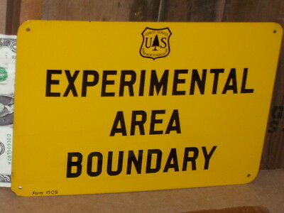 EXPERIMENTAL AREA BOUNDRY <> VINTAGE <> US Forest Service -- TREE - TACK IT SIGN