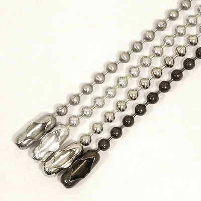 """Lot of 10 Military Style 24"""" Ball Chain Necklaces, 2.4mm Bead - Choose Style"""