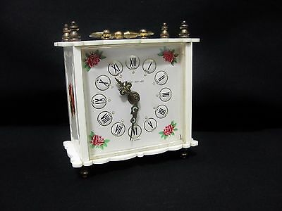 Vintage Phinney Walker Alarm Clock Cream with Roses Germany
