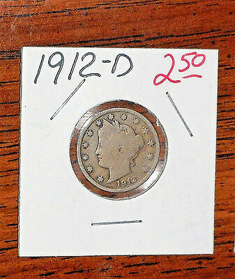 "1912-D Liberty Head ""v"" Nickel ... Grades ""good"""