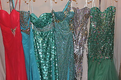 NWT Lot of 6 long beaded formal prom gowns, Sizes 10, 12, 20 MacDuggal, Jasz