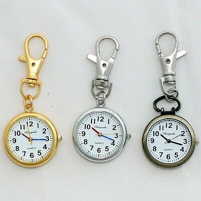 10pcs Retro Bronze Quartz Pocket Watch Cute Key Ring Keychain Party Gift GL52MT