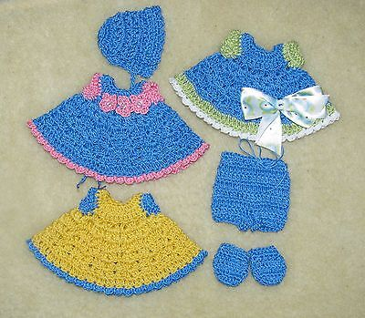 """LOT Crochet Outfits fits 5 1/2 to 6"""" OOAK Polymer, Silicone Bisque Babies #16"""