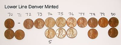 17 x  American Lincoln ONE cent coins  1970 -1980 some Denver & San Francisco