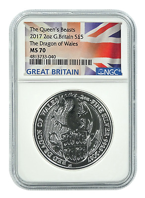 2017 Great Britain 2oz Silver Queens Beast Dragon NGC MS70 - Flag Label