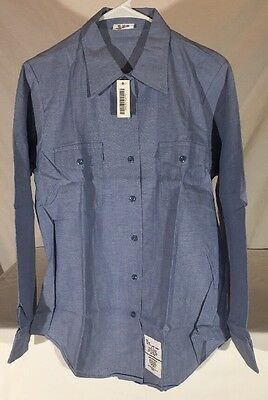 90's U.S. Navy Chambray Long Sleeve Button Down Shirt Women's M NEW Old Stock