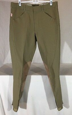 The Tailored Sportsman English Riding Breeches Pants Men's 34 Khaki w/ Leather
