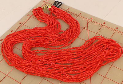 Vintage Bohemian multi strand Glass Czech Seed Bead Necklace Coral Red 30""