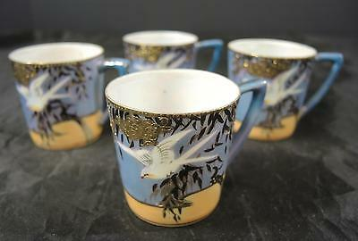 Four VintageBlue & Peach Luster Flying Cranes Chocolate or Demitasse Cups