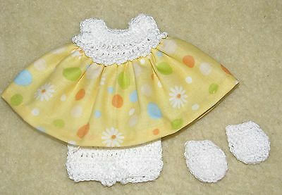 """Cotton Print Outfit fits 5 1/2 to 6"""" Polymer Clay Silicone Babies #36"""