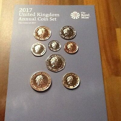 2017 Annual United Kingdom Coin set Brilliant Uncirculated New One Pound Coin BU