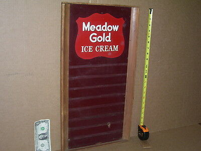 "MEADOW GOLD Ice Cream -- Marked ""KAY INC New York"" -- ORIGINAL WOODEN MENU BOARD"